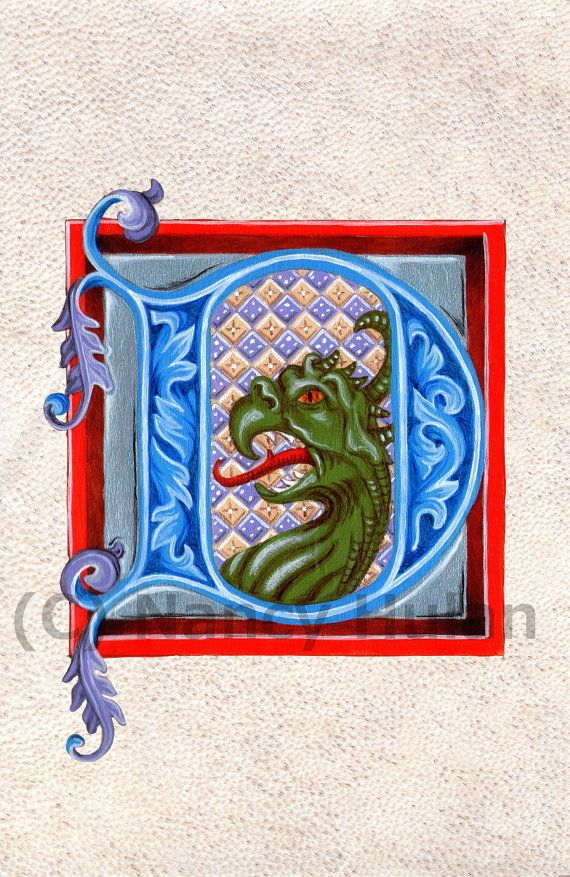 Medieval Illuminated Letter D, Alphabet Letter D,  Painted Initial D, Medieval Alphabet Nursery Fine Art Print