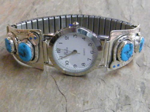 Effie-C-Native-American-Zuni-Indian-Sterling-Silver-Watch-Band-Turquoise-Mens