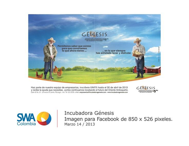 Cliente: Incubadora Génesis.  Pieza: Imagen principal para Fanpage de Facebook.