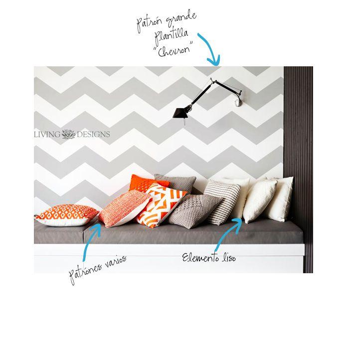8 tips para combinar patrones utilizando plantillas decorativas - Plantillas Decorativas, stencils, para el diseño de interiores y pintar paredes como papel tapiz y vinilos decorativos