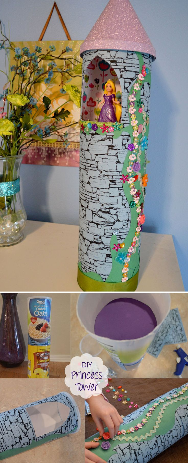 DIY recycled Rapunzel princess tower made from cardboard food containers, fun kids craft.