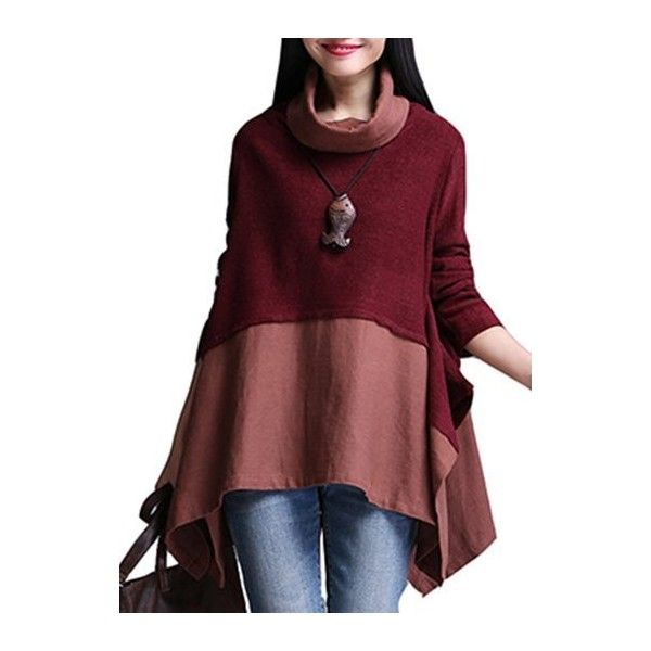 Rotita Wine Red Long Sleeve Asymmetric Sweater ($31) ❤ liked on Polyvore featuring tops, sweaters, wine red, cotton pullovers, long sleeve turtleneck, long sleeve sweater, asymmetrical sweater and cotton turtleneck