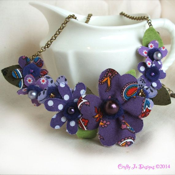 Purple Fabric Flower Statement Necklace by CraftyJoDesigns  https://www.etsy.com/uk/listing/206950988/purple-flower-statement-necklace-floral?ref=shop_home_active_14