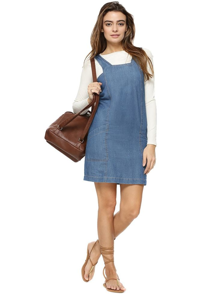 Buy Denim Pinafore Dress For Women - Women's Blue Tunic Dresses Online in India