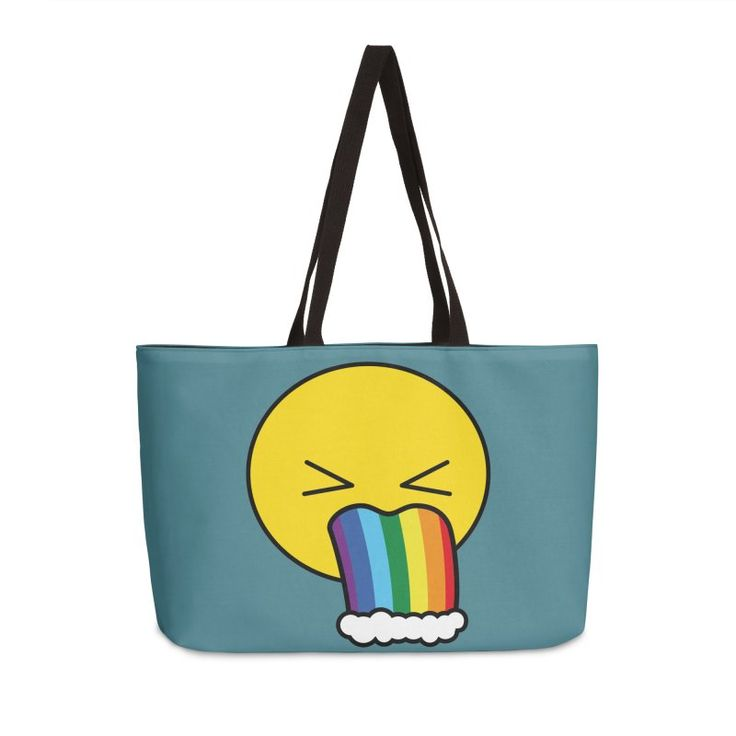 Puke Rainbow - Emoji by #Beatrizxe | #Threadless #tote #bag Vectorial illustration of an emoji puking rainbow. Funny and beautiful design hahaha #illustration #vector #emoji #puke #puking #rainbow #fun #funny #beautiful #cute #hilarious #comedy #nerd #geek #pop #humor #puke a rainbow #joke