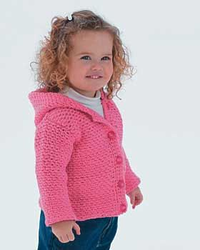 How cute! Darling crochet cardigan-style hoodie with button closure. Sizes 6 months - 2 years (chest measurement 17 - 21-1/2 inches). Shown in Bernat Cottontots. 5.5 mm (U.S. I or 9)crochet hook.