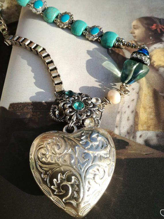 Heart necklace unique heart assemblage ooak vintage style