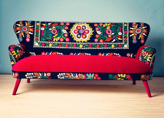 IN LOVE with this whole shop full of colorful sofas!!  Patchwork sofa with Suzani fabrics  3 seats by namedesignstudio, $2500.00