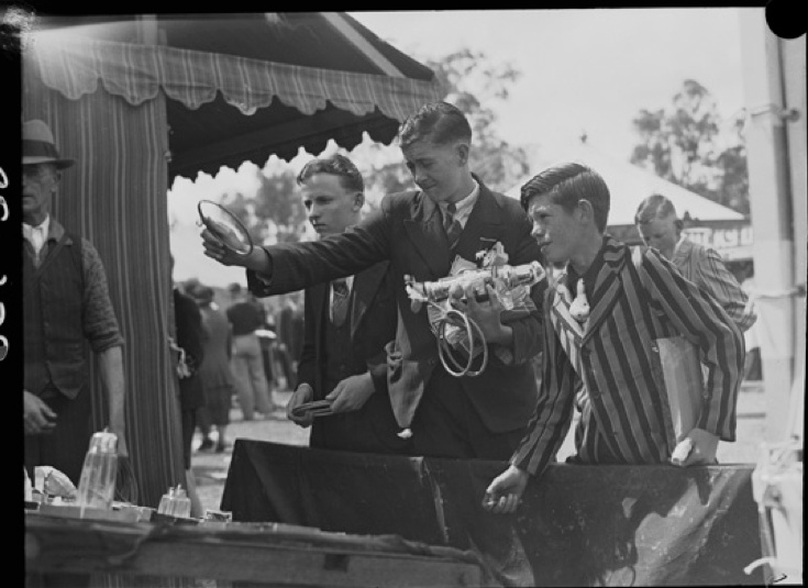 Boys playing game of hoops at the Perth Royal Show, 1938.