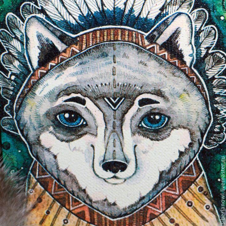 Волк- индеец. Картина на холсте. Этно - зеленый,волк,волки,волчонок,индеец