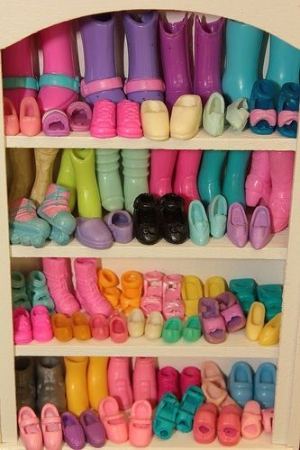 Barbie's shoe closet-This is what my granddaughters Barbie shoe collection will probably look like!♥