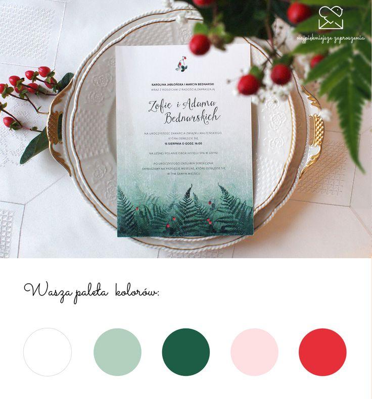 Motyw leśny - papeteria ślubna zaproszenia ślubne // Forest wedding stationery theme, rustical wood ferns strawberries wedding invitations, green red mint color palette, inspirations  http://najpiekniejsze-zaproszenia.pl/motyw-las/