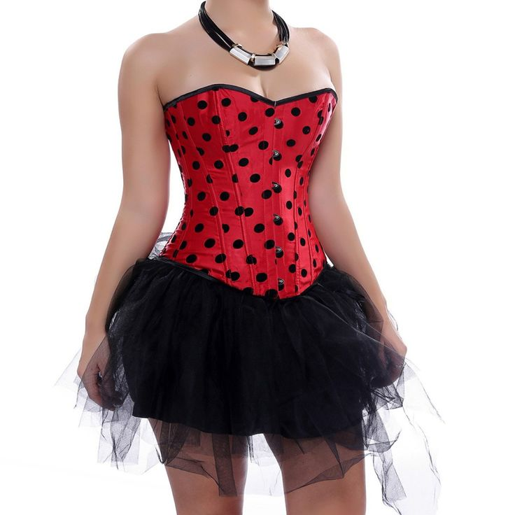 Grebrafan Lace Up boned Overbust Corset Bridal Lingerie With Tutu (US(10-12) XL, Red). Corsets run smaller. Please choose the upper size if you are not quite sure. wears a black bow at the neckline. It has metal closures that facilitate donning and doffing the corset. Boning: 2 Steel bars adjacent to the front busk, 12 Supporting Plastic Bones. This fashion corset is widely used in wedding, christmas party, clubbing, cosplay, stage performance,intimate or naughty occasions. Skirt or any...