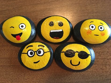 silly purple faces painted  rock painted rocks kids