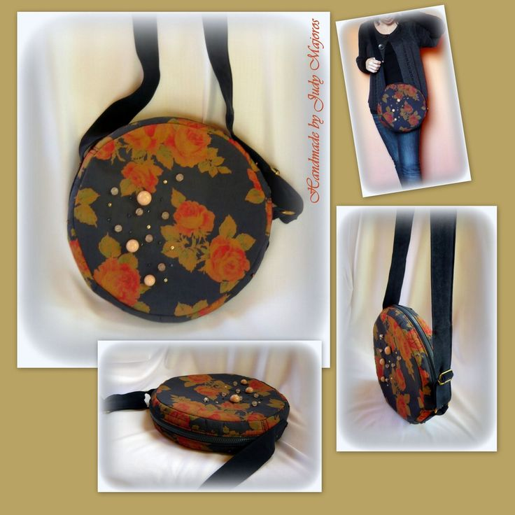 Handmade by Judy Majoros - Vintage- Rose- round -silk -crossbody bag- shoulder bag. Recycled bag