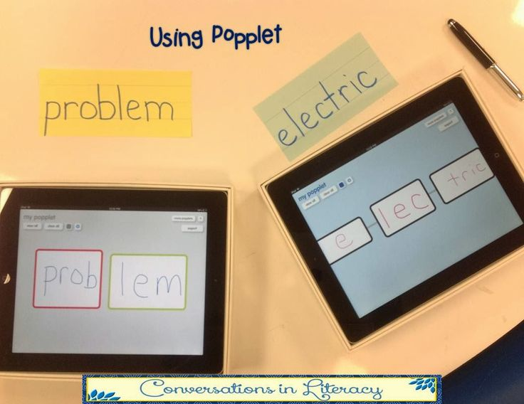 "Using an app called ""Popplet"" to help students learn how to attack words and break them apart into syllables to help them become better readers!"