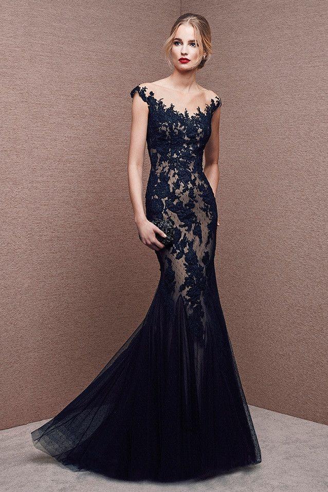 Vestido en tul y encaje negro tipo sirena modelo 6620 by It's My Party | Boutique Clara