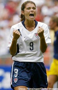 mia hamm - soccer player. Just like me when I score a goal.
