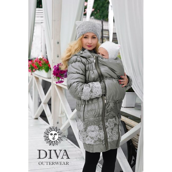 3in1 Babywearing Winter Coat Diva Pietra.  Winter coat for front carrying, regular use or during pregnancy.