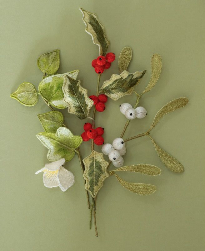 hand embroidered - Ivy, Holly, & Mistletoe