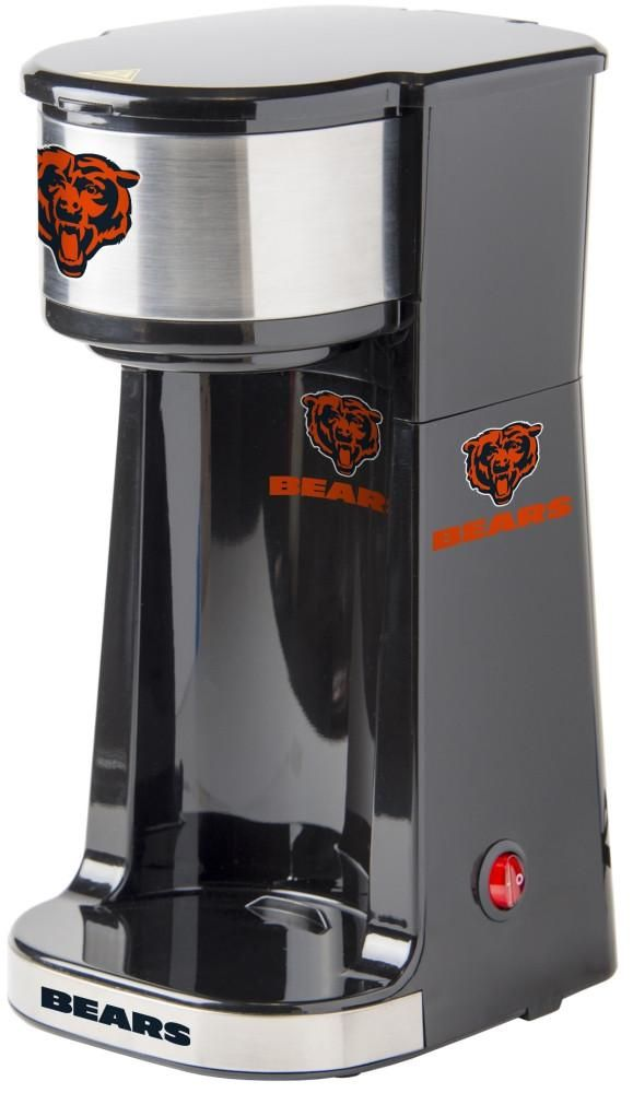 Caffeinate your game days with this single serve Chicago Bears coffee maker. Small size with One Touch operation switch with light indicator. Free Shipping - Visit SportsFansPlus.com for more details!