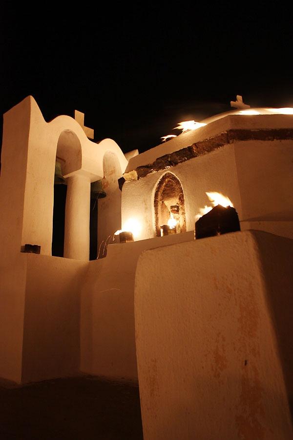 Epitafios (Greek Easter Friday) in Pyrgos at Theotokaki, one of the oldest churches in Santorini