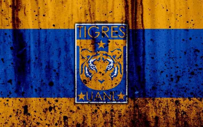 Download wallpapers Tigres UANL, 4k, grunge, stone texture, logo, emblem, Primera Division, Mexican football club, Monterrey, Mexico