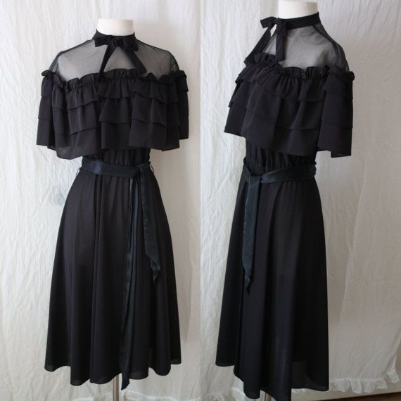 Mod Goth Dress 70s Black Party Dress Miss by WeTheLivingVintage, $28.00