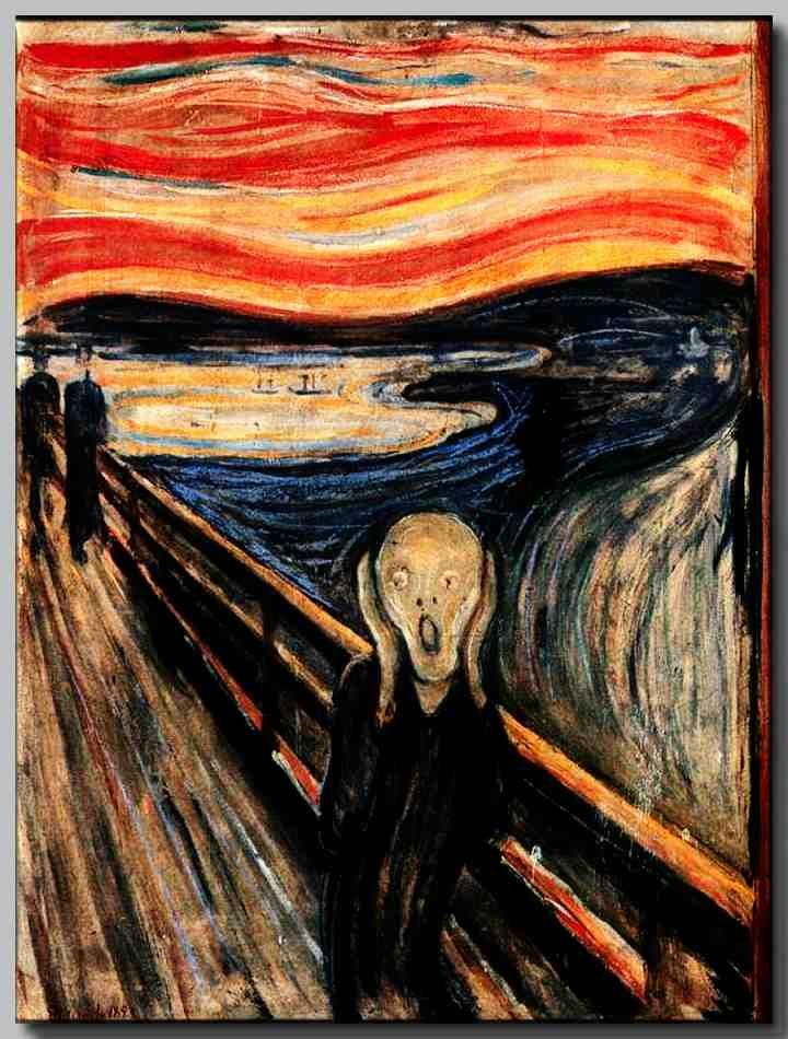 """EXPRESIONISMO  Famosa pintura """"El Grito"""" Se aprecian curvas gruesas, mucho movimiento, figura humana, paleta de colores neutros y azul y rojo."""