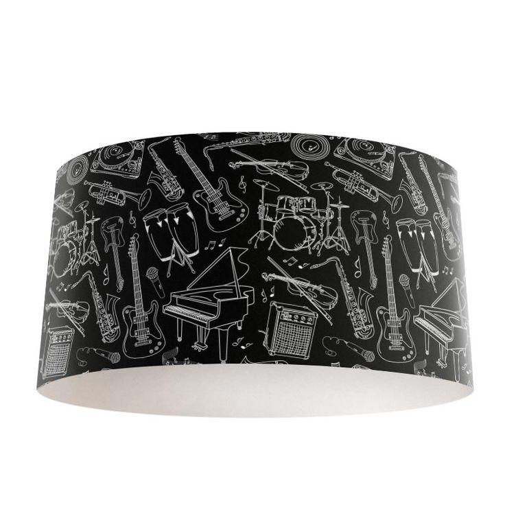 Lampenkap Muziek | Bestel lampenkappen voorzien van digitale print op hoogwaardige kunststof vandaag nog bij YouPri. Verkrijgbaar in verschillende maten en geschikt voor diverse ruimtes. Te bestellen met een eigen afbeelding of een print uit onze collectie. #lampenkap #lampenkappen #lamp #interieur #interieurdesign #woonruimte #slaapkamer #maken #pimpen #diy #modern #bekleden #design #foto #muziek #instrumenten #muziekinstrumenten #zwart #zwartwit #gitaar #piano