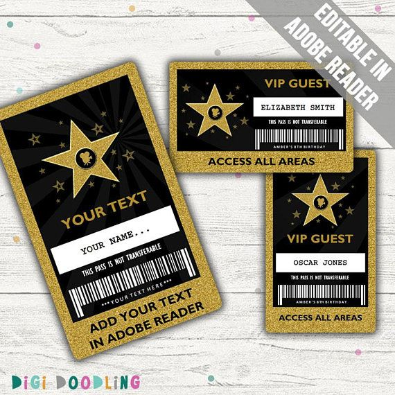 Hollywood Party Vip Pass Hollywood Vip Badge Bearbeitbare Etsy Hollywood Party Vip Pass Hollywood Party Theme