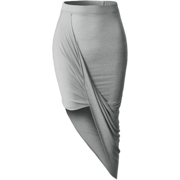 LE3NO Womens Asymmetrical Banded Waist Wrap Cut Out Hi Low Maxi Skirt found on Polyvore featuring skirts, bottoms, long wrap skirt, rayon maxi skirt, elastic waist skirt, short front long back skirt and hi low skirt