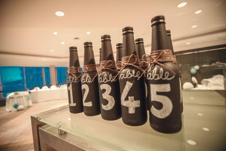 Rustic beer bottle table numbers