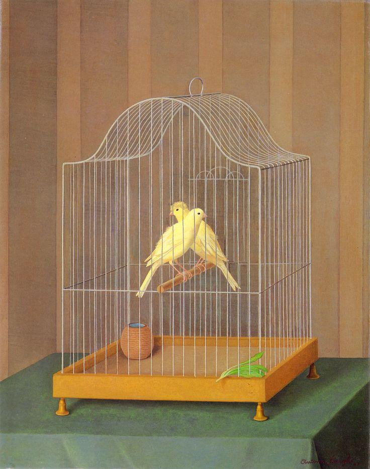 Antonio Donghi - Due canarini in gabia