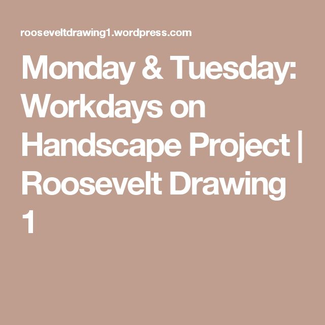 Monday & Tuesday: Workdays on Handscape Project | Roosevelt Drawing 1