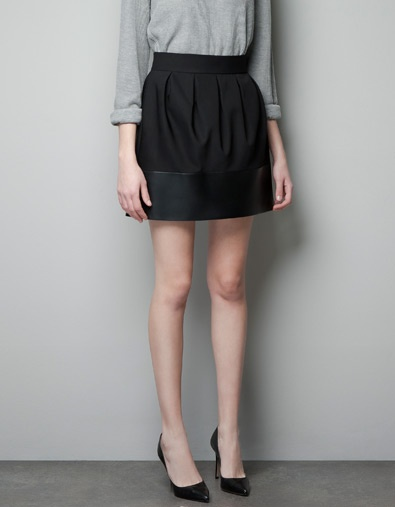FAUX LEATHER COMBINATION SKIRT