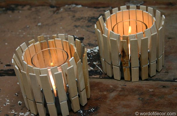 DIY Candle Holder: Diy'S Idea, Mothers Day, Outdoor Candles, Candles Holders, Diy'S Projects, Crafts Idea, Projects Idea, Clothing Pin, Teas Lighting