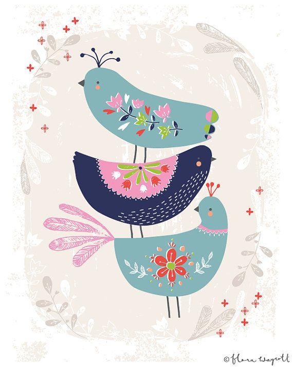 Giclée folk oiseaux 8 x 10 par florawaycott sur Etsy