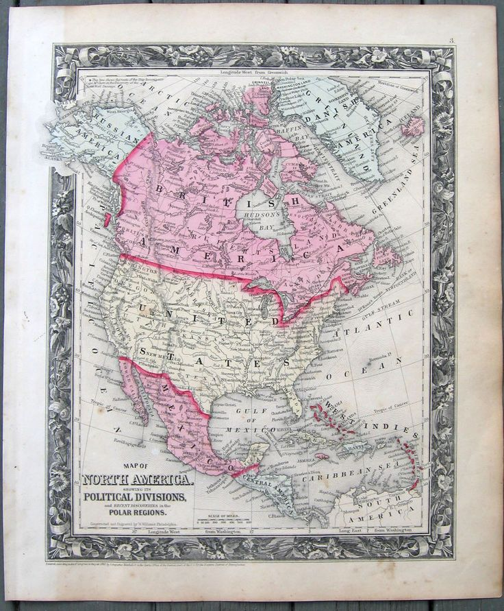 Map Of North America With States%0A      Mitchell map  North America