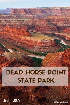 Dead Horse Point State Park in Utah features a dramatic overlook of the Colorado River and Canyonlands National Park. Sunrise here is absolutely gorgeous.