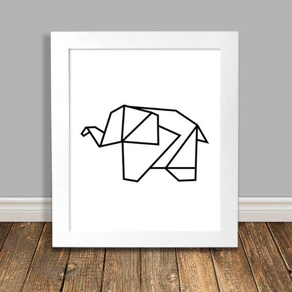 Elephant Art Print, Geometric Art, Origami, Black Nursery Art, Animal Nursery Art, Printable, Wall Art, Downloadable Poster - 8x10, 11x14