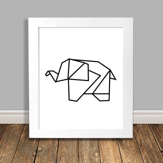 Elephant Art Print, Geometric Art, Origami, Black Nursery Art, Animal Nursery Art, Printable, Wall Art, Downloadable Poster - 8x10, 11x14