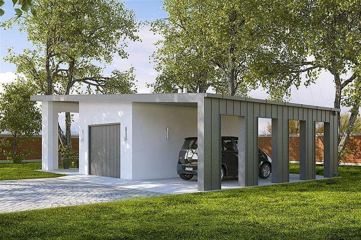 projekt G190 - Budynek garażowy z wiatą PRA1174