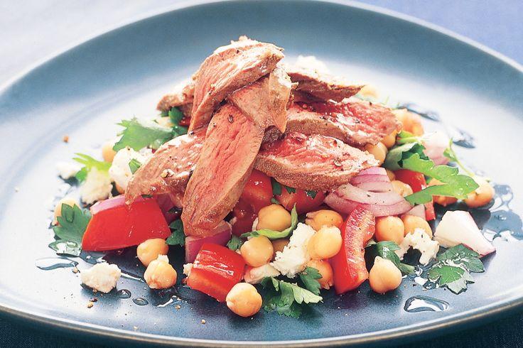 Warm Lamb, Chickpea & Feta Salad Recipe - Taste.com.au