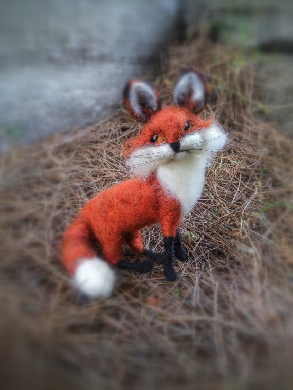 Needle Felted Fox Poseable Sculpture of Red by HappyFeltingHour
