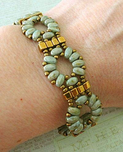 Linda's Crafty Inspirations: Bracelet of the Day: Twin Cube Band - Patina