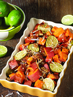Tropical Yams Heart-friendly yams are tarted up with lime juice and shredded coconut in this festive side dish. Serve it with lamb or my Ostrich Meatballs (Age Beautifully Cookbook). It also goes well with turkey, pork, and meatloaf. BENEFITS: Yams … Continue reading →