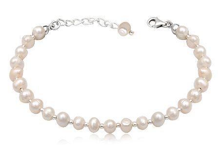 Bratara din perle albe, de cultura si argint 925.
