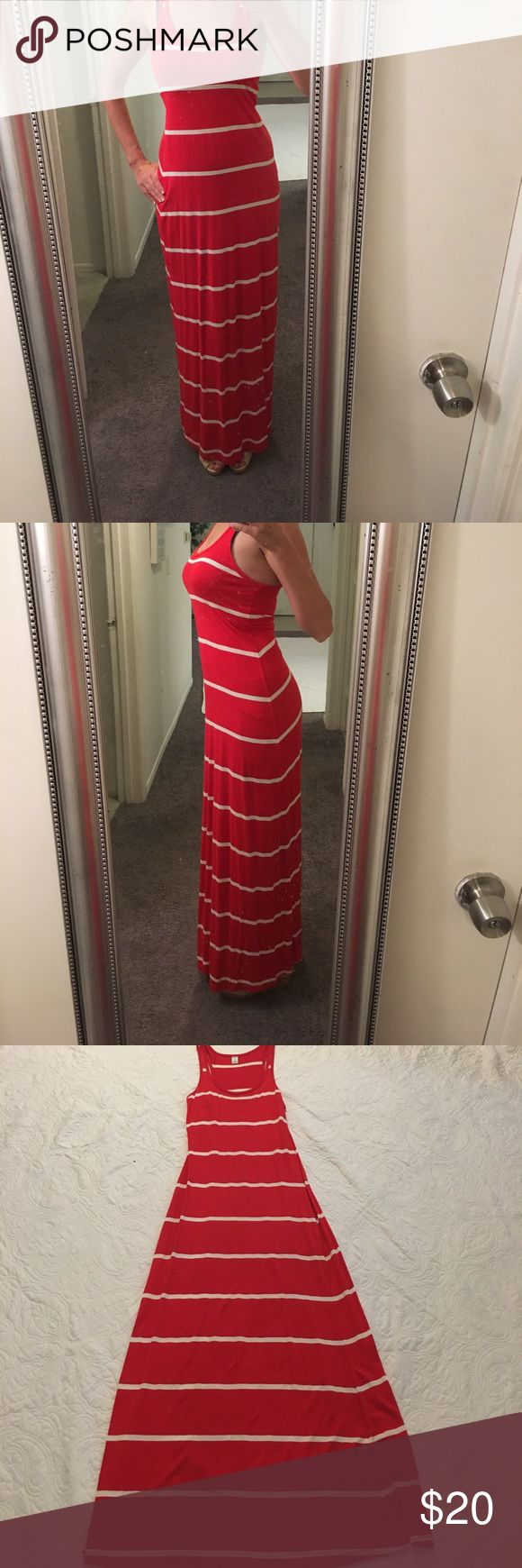 4th of July!! Old Navy Red and White Maxi Be ready for the Fourth of July in this red and white striped maxi dress from Old Navy. Offers Welcome! Ships next business day! Old Navy Dresses Maxi