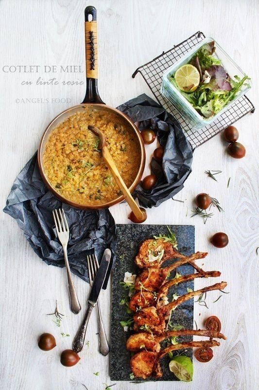 Angel's food: Cotlete de miel cu linte rosie si salata de verdet...